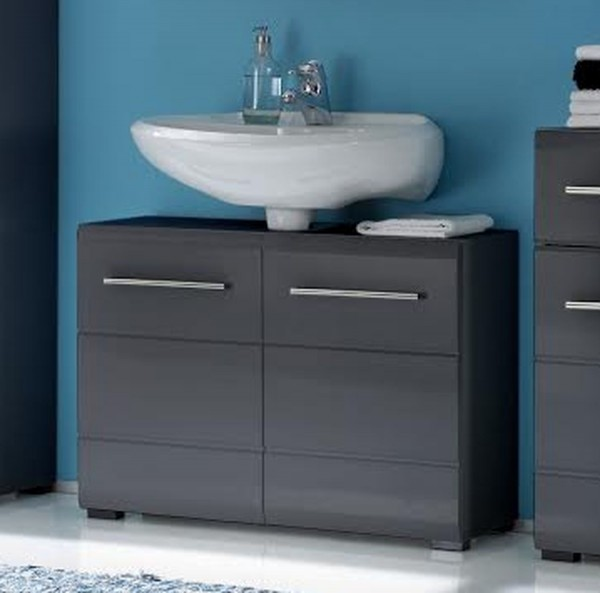 waschbeckenunterschrank chrome grau metallic. Black Bedroom Furniture Sets. Home Design Ideas