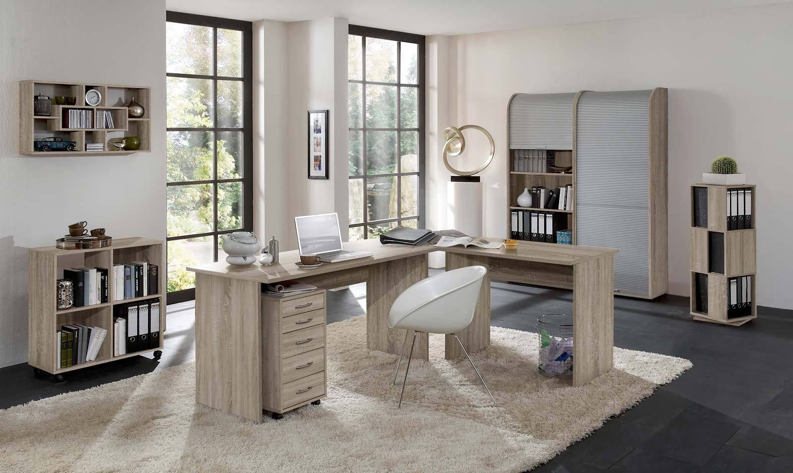 arbeitszimmer b ro office profi in eiche sonoma. Black Bedroom Furniture Sets. Home Design Ideas